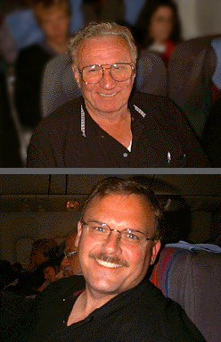 My Dad and I on the flight to Frankfurt, Germany.